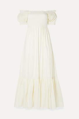 La Ligne Arielle Shirred Striped Cotton-blend Poplin Maxi Dress - White