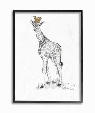 "Stupell Industries Giraffe Royalty Graphite Drawing Framed Giclee Art, 16"" x 20"""