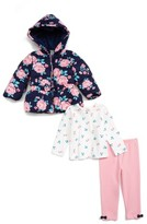 Little Me Infant Girl's Hooded Jacket, Tee & Leggings Set