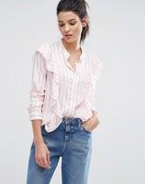 Vero Moda Candy Stripe Ruffle Shirt
