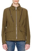 Maison Margiela Zipper-Detail Military Jacket, Olive