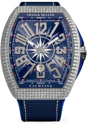 Franck Muller Vanguard Yachting White Gold, Diamond, Alligator & Rubber Strap Watch