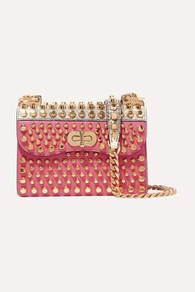 Prada Belle Studded Leather And Lizard Shoulder Bag - Pink