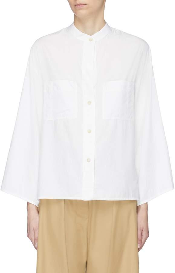 Vince Mandarin collar chest pocket cotton-silk utility shirt