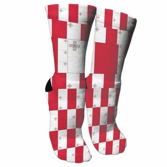 Wonzhrui Malta Flag Crew Socks Novelty Stylish Socks Suitable For Running Sports Hiking