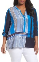 Nic+Zoe Plus Size Women's Silk Blend Plaid Popover