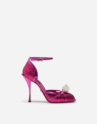 Dolce & Gabbana Glittery Sandals With Pearl Detailing
