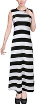 uxcell® Woman Bold Stripes Round Neck Sleeveless Maxi Dress White Black XS