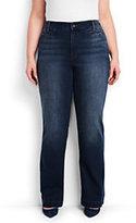 Lands' End Women's Plus Size Mid Rise Denim Trouser-Dark Indigo Wash