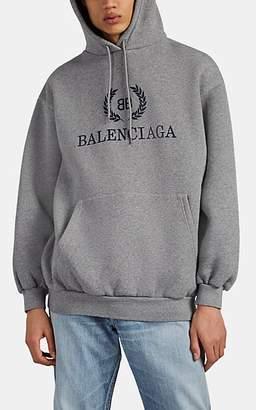 Balenciaga Men's BB-Logo Cotton Hoodie - Gray