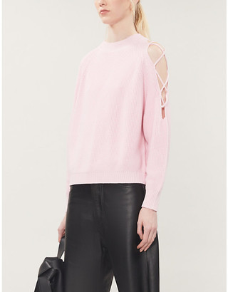 Pinko Lavarello criss-cross shoulder cotton-knit jumper