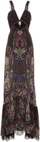 Roberto Cavalli Paisley Flounce Evening Gown