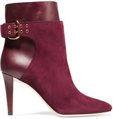 Jimmy Choo Major Suede And Leather Ankle Boots - Burgundy