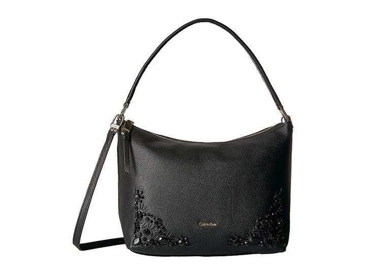 Calvin Klein Pebble Vertical Front Zip Embellished Crossbody Cross Body Handbags