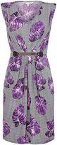 Yumi Purple Floral Printed Belt Dress