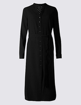 M&S Collection Long Sleeve Shirt Midi Dress with Belt