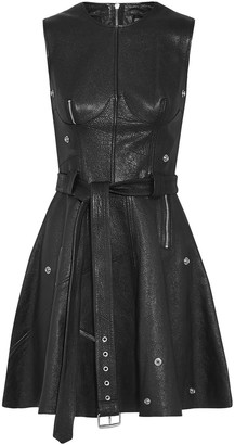 Alexander McQueen Zip-embellished Textured-leather Mini Dress