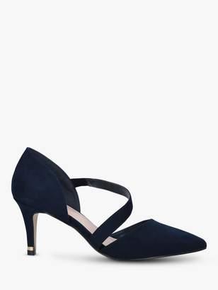 Carvela Kyto Cross Strap Stiletto Heel Suede Court Shoes