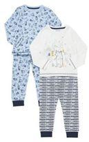 F&F 2 Pack of Woodland Print Pyjamas, Boy's