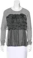 Vera Wang Ruffled-Trim Long Sleeve Top