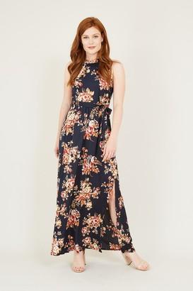 Yumi Black Floral High Neck MaxI Dress