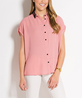 Dusty Pink Button-Front Short-Sleeve Top