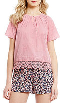 Copper Key Floral-Embroidered Lace-Hem Peasant Top
