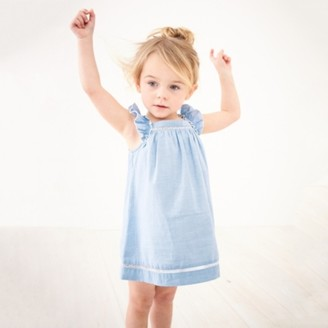 The White Company Frill-Strap Lace-Detail Dress, Blue, 12-18mths