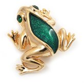 Avalaya Small Green Enamel 'Frog' Brooch In Gold Plated Metal - 2.5cm Length