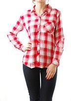 Rails Women's Rocsi Rayon Long Sleeve Buttondown White Cranberry Check Size S