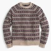 Lambswool Fair Isle crewneck sweater in camel