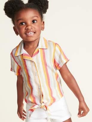 Old Navy Striped Slub-Weave Tie-Hem Getaway Shirt for Toddler Girls