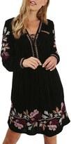 Topshop Women's Floral Embroidery Velvet Dress