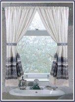"Carnation Home Fashions Fleur"" Fabric Window Curtain in Silver"