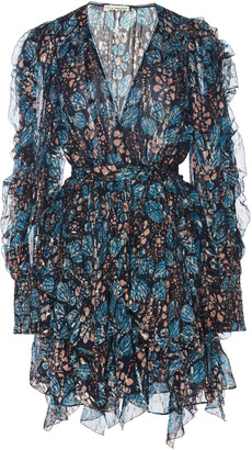Ulla Johnson Natalia Floral-Print Silk and Lurex-Blend Mini Dress