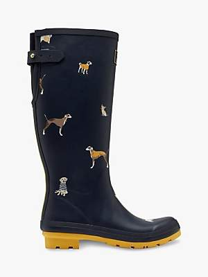 Joules Dog Print Waterproof Tall Wellington Boots, Navy