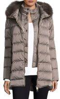 Herno White Fox Fur Satin Quilt Coat