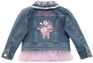 MonnaLisa Denim Effect Jacket W/ Tulle