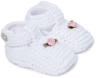 Loralin Design Girls' Infant Booties and Crib Shoes White - White Rose Knit Bootie - Girls