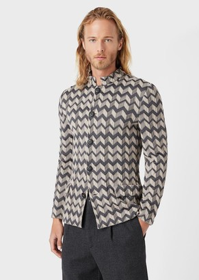Giorgio Armani Single-Breasted Jacket In Chevron Jacquard