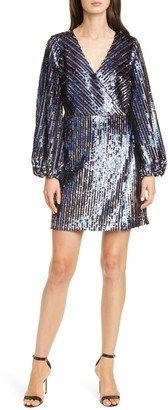 Tanya Taylor Tabitha Sequin Long Sleeve Wrap Dress