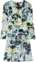 Erdem Judy Floral-print Tech-jersey Mini Dress - Sky blue
