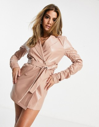 I SAW IT FIRST faux leather ruched sleeve blazer dress in dusty pink