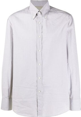 Brunello Cucinelli Micro Gingham Patterned Curved Hem Shirt