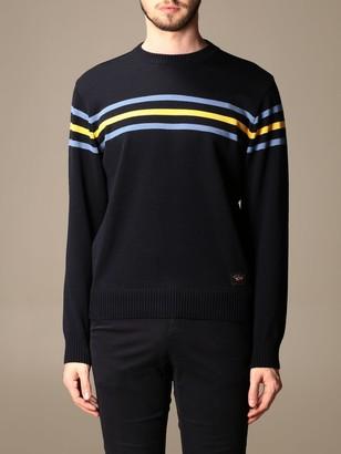 Paul & Shark Paul Shark Crewneck Sweater In Striped Wool