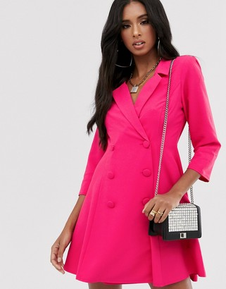 Asos Design DESIGN swing tux mini dress-Pink