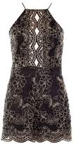 Quiz Black and Gold Lace Scallop Playsuit