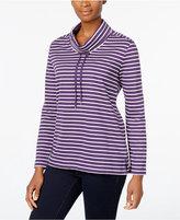 Karen Scott Petite Striped Funnel-Neck Top, Only at Macy's