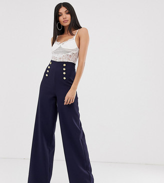 Flounce London Tall wide leg trousers with gold button detail in navy