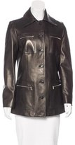 Michael Kors Leather Button-Up Coat